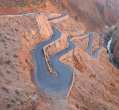 The zigzag road to Gorges du Dades valley, Morocco. The zigzag road to Gorges du Dades valley during end of winter and beginning of spring on March 2014 in Royalty Free Stock Image