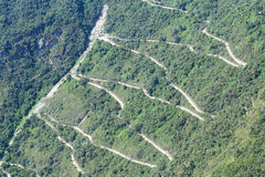 Zigzag road to Machu Picchu Royalty Free Stock Photos