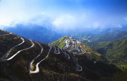 Zigzag road in Zuluk, Sikkim - India Royalty Free Stock Photography
