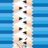 Zigzag row pencil. Royalty Free Stock Images
