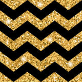Zigzag seamless pattern Gold glitter and black template Stock Photography
