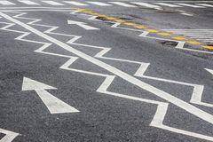 Zigzag sing on the road. Zigzag sign on the road befor road zebra crossing stock photo