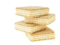 Zigzag stack wafer. Zigzag stack of four wafer on white backgriund royalty free stock photography