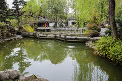 Zigzag stone bridge over water,Chengdu Stock Image
