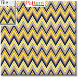 Zigzag and stripe line tile with sample pattern. Vector illustra Stock Photo