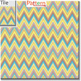 Zigzag and stripe line tile with sample pattern. Vector illustra Royalty Free Stock Images