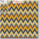 Zigzag and stripe line tile with sample pattern. Vector illustration for tribal design with abstract colors. For stock illustration