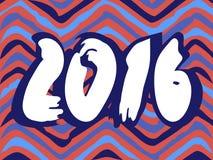 Zigzag tiré par la main du fond de 2016 nouvelles années Photographie stock libre de droits