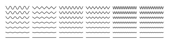Free Zigzag Wave Line Patterns, Smooth End Squiggly Horizontal Vector Lines, Curvy Underlines Royalty Free Stock Photos - 154503468