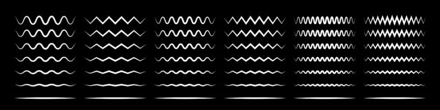Free Zigzag Wave Line Patterns, Smooth End Squiggly Horizontal White Lines. Vector Curvy Underlines Royalty Free Stock Photo - 154504065