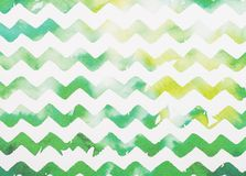 Zigzag white and green. Watercolor background royalty free stock photos