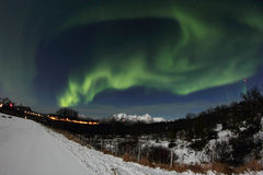 Zigzagging Northern Light above Leknes Stock Images
