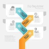 Zigzagpijl Infographic Royalty-vrije Stock Afbeeldingen