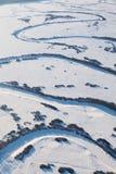 Zigzags del río del invierno Fotografía de archivo libre de regalías