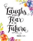 Zij lacht zonder vrees voor de toekomst royalty-vrije illustratie