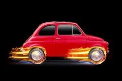 Zijaanzicht rode uitstekende auto met hete wielenvlammen Concept bij volledige snelheid het rennen stock fotografie