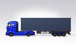 Zijaanzicht van blauwe die containervrachtwagen op grijze achtergrond wordt geïsoleerd vector illustratie