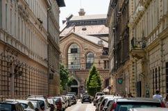 Zijaanzicht van Centrale Marktzaal van Boedapest Stock Fotografie