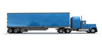 Zijaanzicht van een grote blauwe aanhangwagenvrachtwagen vector illustratie