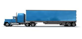 Zijaanzicht van een grote blauwe aanhangwagenvrachtwagen stock illustratie