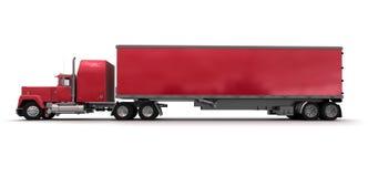 Zijaanzicht van een grote rode aanhangwagenvrachtwagen Stock Fotografie