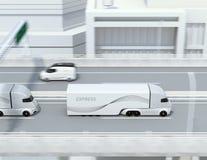 Zijaanzicht van een vloot van zelf-drijft elektrische semi vrachtwagens die op weg drijven vector illustratie