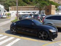 Zijaanzicht van een zwarte coupé van kleurenaudi TT RS in Lima Royalty-vrije Stock Fotografie
