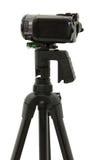 Zijaanzicht van HD Camcorder op Driepoot Stock Afbeeldingen