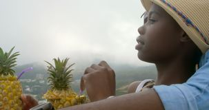 Zijaanzicht van het Afrikaanse Amerikaanse paar ontspannen op het strand 4k stock footage