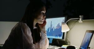 Zijaanzicht van het jonge Kaukasische vrouwelijke uitvoerende werken aan laptop bij bureau in modern bureau 4k stock footage