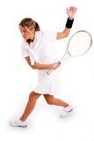 Zijaanzicht van het volwassen speeltennis van de tennisspeler Royalty-vrije Stock Afbeeldingen