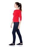 Zijaanzicht van lopende vrouw Stock Foto