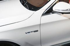 Zijaanzicht van Mercedes Benz S 63 AMG 4Matic 2018 Auto buitendetails V8 bi-Turboembleem, teken Royalty-vrije Stock Afbeelding