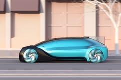 Zijaanzicht van metaal blauwe autonome sedan die zich snel op de weg bij zonsondergang bewegen vector illustratie