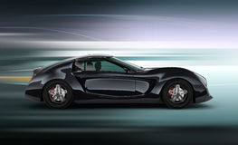 Zijaanzicht van modieuze zwarte sportwagen met de achtergrond van het motieonduidelijke beeld Stock Foto's