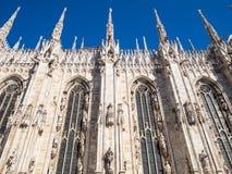 Zijaanzicht van muur van Milan Cathedral stock fotografie