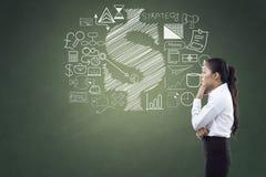 Zijaanzicht van onderneemster met bedrijfs en financiënpictogrammen stock afbeelding