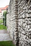 Zijaanzicht van steenmuur royalty-vrije stock afbeeldingen