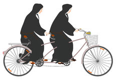 Nonnen en achter elkaar. stock illustratie