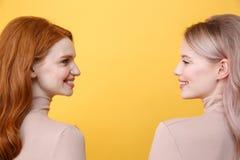 Zijaanzichtfoto van gelukkige jonge twee damesvrienden Royalty-vrije Stock Afbeeldingen
