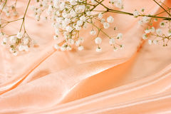 Zijde en bloemenachtergrond Stock Afbeelding