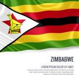 Zijdeachtige vlag die van Zimbabwe op een geïsoleerde witte achtergrond met het witte tekstgebied golven voor uw advertentieberic Royalty-vrije Stock Afbeelding