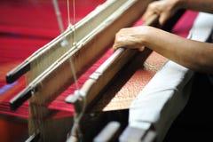 Zijdedoek door stof en vezel van worm materieel ontwerp dat zo wordt gemaakt Stock Foto
