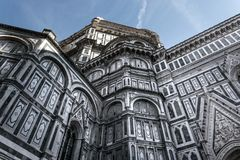 Zijdi Santa Maria del Fiore, Florence, Italië 2 van voorgevelcattedrale stock afbeelding