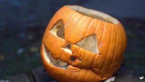 Zijdieschot van hefboom-o-Lantaarn voor Halloween wordt gemaakt Rotte die pompoen met vorm wordt behandeld die zich op een gebran stock videobeelden