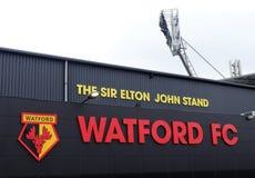 Zijgevel van Sir Elton John Stand, Watford-het stadion van de Voetbalclub, Beroepsweg, Watford stock foto