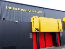 Zijgevel van Sir Elton John Stand, Watford-het stadion van de Voetbalclub, Beroepsweg, Watford royalty-vrije stock foto