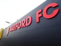 Zijgevel van Watford-het stadion van de Voetbalclub, Beroepsweg, Watford stock afbeeldingen
