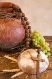 Zijn brood en wijn stock fotografie