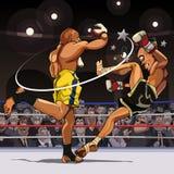 Zijn de beeldverhaal mannelijke vechters in paren gerangschikt in de ring stock illustratie